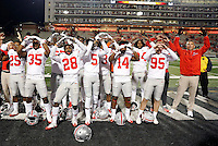 Ohio State Buckeyes sing Carmen Ohio after beating Maryland Terrapins 62-3 at Maryland Stadium in College Park, Md. on November 12, 2016.  (Kyle Robertson / The Columbus Dispatch)