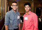 WATERBURY, CT-042518JS08- Steven Burgo and Jeremy Vidal, both students at the NVCC-Danbury Campus, at the Naugatuck Valley Community College Foundation's Leadership Breakfast held at La Bella Vista in Waterbury.   <br /> Jim Shannon Republican American