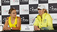 9th November 2019; RAC Arena, Perth, Western Australia, Australia; Fed Cup by BNP Paribas Tennis Final, Day 1, Australia versus France; Ash Barty of Australia at her press conference with Alicia Molik after her win against Caroline Garcia of France in the second rubber 6-0 6-0
