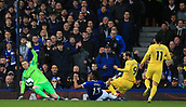 17th March 2019, Goodison Park, Liverpool, England; EPL Premier League Football, Everton versus Chelsea; Gonzalo Higuian of Chelsea beats Everton goalkeeper Jordan Pickford but sees his effort cleared off the line
