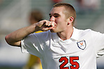 15 November 2009: Virginia's Will Bates celebrates his goal. The University of Virginia Cavaliers defeated the North Carolina State University Wolfpack 1-0 at WakeMed Stadium in Cary, North Carolina in the Atlantic Coast Conference Men's Soccer Tournament Championship game.