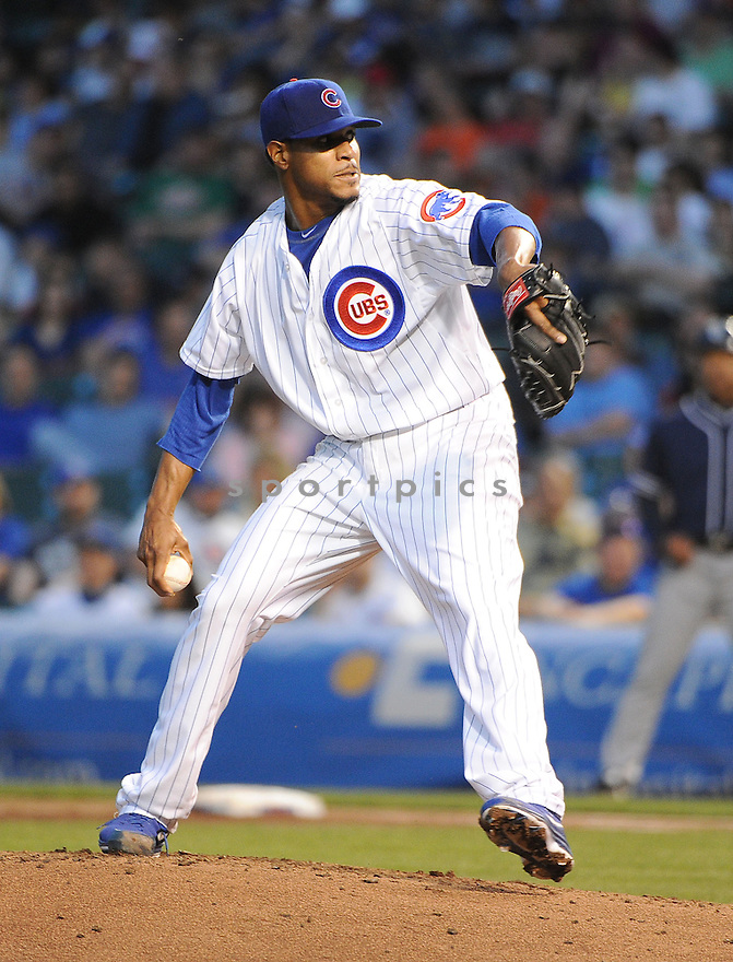 Chicago Cubs Edwin Jackson (36) during a game against the San Diego Padres on April 30, 2013 at Wrigley Field in Chicago, IL. The Padres beat the Cubs 13-7.