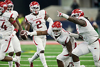 Hawgs Illustrated/Ben Goff<br /> Dre Greenlaw (23), Arkansas linebacker, and McTelvin Agim (3), celebrate after Greenlaw intercepted a Texas A&M pass in the 1st quarter Saturday, Sept. 29, 2018, during the Southwest Classic at AT&T Stadium in Arlington, Texas.
