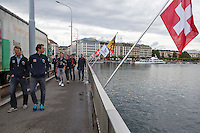 Swiss, Genève, September 14, 2015, Tennis,   Davis Cup, Swiss-Netherlands, team walking to boattrip<br /> Photo: Tennisimages/Henk Koster