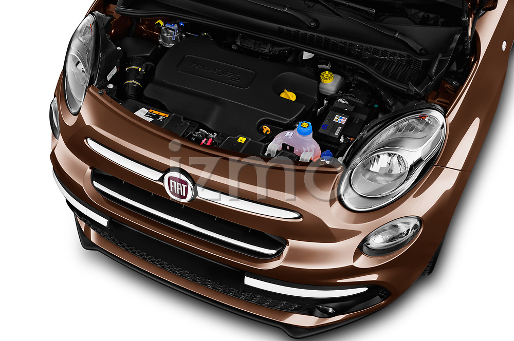 Car stock 2018 Fiat 500L Lounge 5 Door Mini Van engine high angle detail view