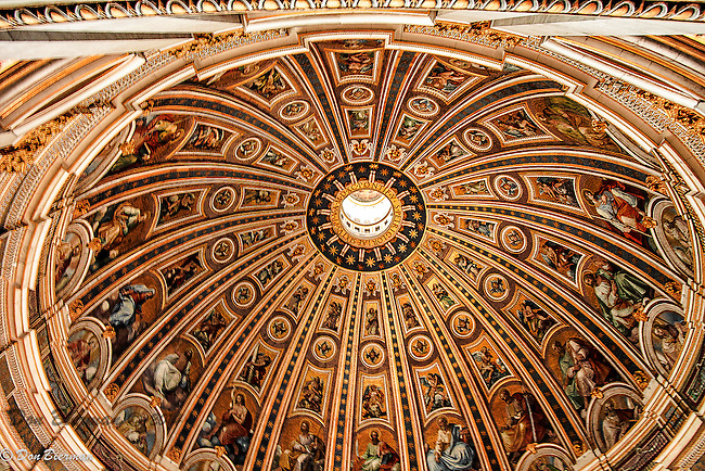 Ceiling of the dome of St. Peter's Basilica, The Vatican, Rome, Italy.