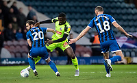Bolton Wanderers' Toto Nsiala (centre) competing with Rochdale's Jimmy Ryan (left) <br /> <br /> Photographer Andrew Kearns/CameraSport<br /> <br /> The EFL Sky Bet League One - Rochdale v Bolton Wanderers - Saturday 11th January 2020 - Spotland Stadium - Rochdale<br /> <br /> World Copyright © 2020 CameraSport. All rights reserved. 43 Linden Ave. Countesthorpe. Leicester. England. LE8 5PG - Tel: +44 (0) 116 277 4147 - admin@camerasport.com - www.camerasport.com