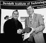 John Casey, Malahide receives the Great Northern Brewery prize in Science from Sean McCarthy at the Dundalk Institute of Technology conferring ceremony.
