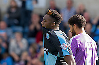 Gozie Ugwu of Wycombe Wanderers  shows his disappointment after a missed opportunity during the Sky Bet League 2 match between Wycombe Wanderers and Plymouth Argyle at Adams Park, High Wycombe, England on 12 September 2015. Photo by Andy Rowland.