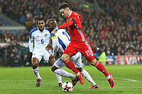 Tom Lawrence of Wales is marked by Felipe Baloy of Panama during the International Friendly match between Wales and Panama at The Cardiff City Stadium, Wales, UK. Tuesday 14 November 2017