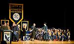 WATERBURY, CT-062117JS15- Kennedy High School graduates make their way to receive their diplomas during graduation ceremonies Wednesday at Kennedy High School in Waterbury.  Jim Shannon Republican-American