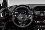 Car pictures of steering wheel view of a 2020 KIA e-Soul Premium 5 Door SUV Steering Wheel