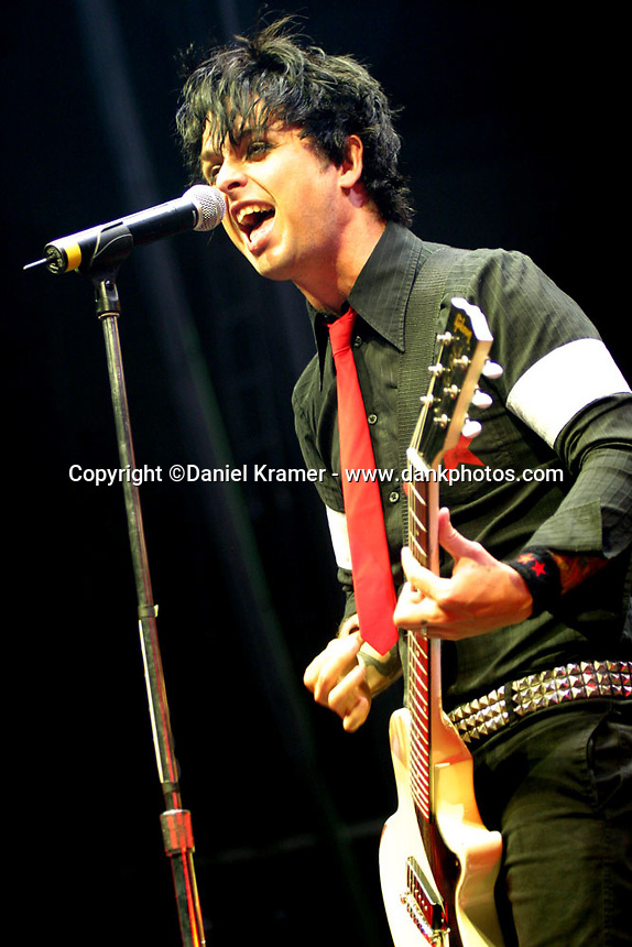 Billie Joe Armstrong performs with Green Day at Toyotoa Center in Houston, Texas on August 19, 2005.