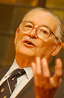 """2001 File Photo of<br />  Economist James Mc Gill  Buchanan,during a conference in Montreal, Canada<br /> <br />  Born in 1919 in Murfreesboro, Tenn. <br /> With his """"public choice"""" theory, an integration of political decision making and economic theory, he attacked the established approach to public sector economics. His interest and analysis of collective choice was strongly influenced by 19th-century European writers on public finance. He taught at several colleges before accepting a professorship at George Mason University (1983). He was awarded the Nobel Prize (1986). <br /> <br /> Photo by Sevy-IMAGES DISTRIBUTION <br /> <br /> NOTE :  D-1 H original JPEG, saved as Adobe 198 RGB"""