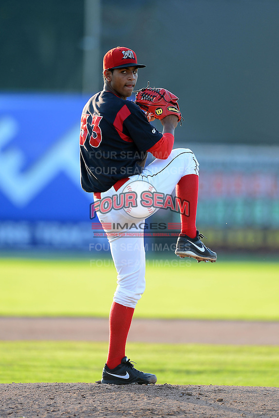Batavia Muckdogs pitcher Jarlin Garcia (33) during a game against the State College Spikes on June 29, 2013 at Dwyer Stadium in Batavia, New York.  Batavia defeated State College 5-4.  (Mike Janes/Four Seam Images)