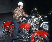 Malcolm Forbes<br /> In 1987 on his Harley-Davidson FXSTS Springer Softail<br /> Photo By John Barrett/CelebrityArchaeology.com