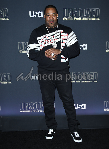 "22 February 2018 - Hollywood, California - Busta Rhymes. USA Network's ""Unsolved: The Murders of Tupac & The Notorious B.I.G."" held at Avalon Hollywood. Photo Credit: Birdie Thompson/AdMedia"