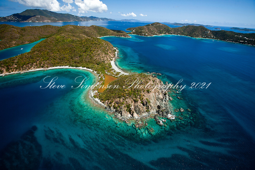Aerial view of Water Creek, Turner Point and Round Bay.Hurricane Hole.St. John.U.S. Virgin Islands