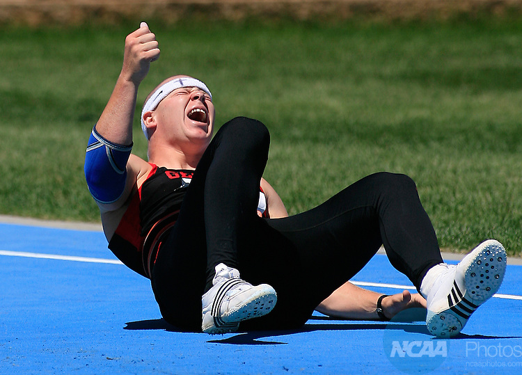 13 JUNE 2008:  Chris Hill, from Georgia, reacts after his last throw in the javelin competition landed outside the vector at the NCAA Division 1 Men's and Women's Track & Field Championships in Des Moines, Iowa.  Hill still won the competition with a throw of 257-3.  David Peterson/NCAA Photos