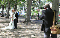 Bedford, UK - A just married couple pose for photos on the Embankment -  A selection of views of the county town of Bedford, England - 15th September 2012..Photo by Keith Mayhew