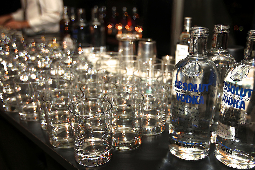 Photo of Absolut Vodka  bottles  at a private diner provided bye Absolut Vodka at a private location on Nov 12, 2010. ( For Pernod Ricard)