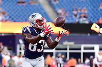 August 9, 2018: New England Patriots tight end Dwayne Allen (83) warms up prior to the NFL pre-season football game between the Washington Redskins and the New England Patriots at Gillette Stadium, in Foxborough, Massachusetts.The Patriots defeat the Redskins 26-17. Eric Canha/CSM