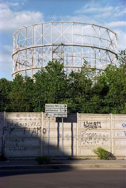 milano, quartiere bovisa, periferia nord. vecchi gasometri --- milan, bovisa district, north periphery.  old gasometer