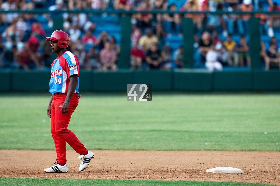 15 February 2009: Alfredo Despaigne of the Orientales is seen during a training game of Cuba Baseball Team for the World Baseball Classic 2009. The national team is pitted against itself, divided in two teams called the Occidentales and the Orientales. The Orientales win 12-8, at the Latinoamericano stadium, in la Habana, Cuba.