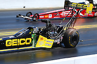 Jul. 27, 2014; Sonoma, CA, USA; NHRA top fuel driver Richie Crampton during the Sonoma Nationals at Sonoma Raceway. Mandatory Credit: Mark J. Rebilas-