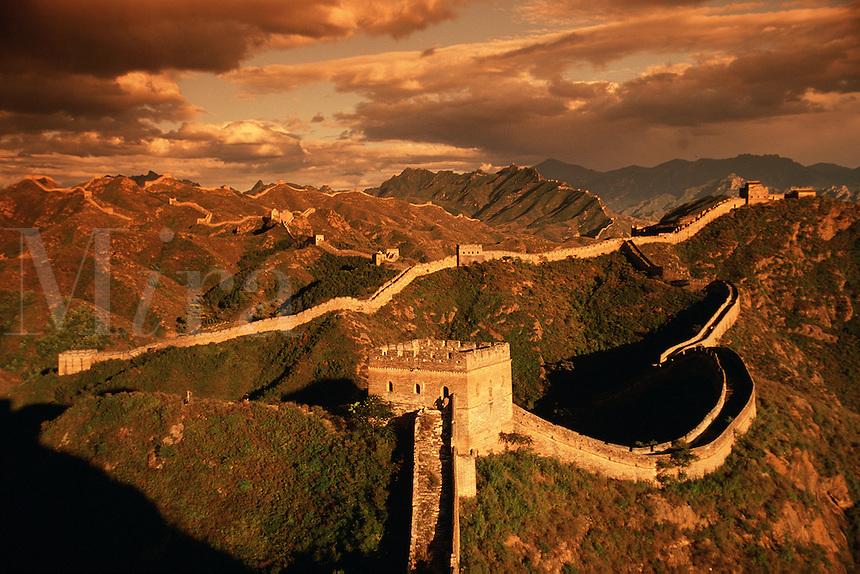 Moody overview of the Great Wall of China and the watchtower at at Jinshanling Pass. China..