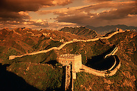 Moody overview of the Great Wall of China and the watchtower at at Jinshanling Pass. China..