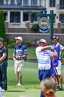 Hideto Tanihara (JAP) watches his tee shot on 8 during Saturday's round 3 of the PGA Championship at the Quail Hollow Club in Charlotte, North Carolina. 8/12/2017.<br /> Picture: Golffile | Ken Murray<br /> <br /> <br /> All photo usage must carry mandatory copyright credit (&copy; Golffile | Ken Murray)