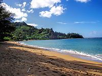 A beauitful beach on the Hawaiian Isle of Kauai.