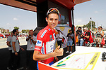 Race leader Rudy Molard (FRA) Groupama-FDJ at sign on before the start of Stage 6 of the La Vuelta 2018, running 150.7km from Huércal-Overa to San Javier, Mar Menor, Sierra de la Alfaguara, Andalucia, Spain. 30th August 2018.<br /> Picture: Unipublic/Photogomezsport | Cyclefile<br /> <br /> <br /> All photos usage must carry mandatory copyright credit (© Cyclefile | Unipublic/Photogomezsport)