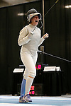 25 MAR 2016:  Columbia's Jackie Dubrovich celebrates her win in the semifinals of the women's foil at the Division I Women's Fencing Championship held at the Gosman Sports and Convention Center in Waltham, MA.   Damian Strohmeyer/NCAA Photos
