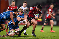 11th July 2020, Christchurch, New Zealand;  Codie Taylor of the Crusaders is tackled by Josh Goodhue of the Blues and Ofa Tu�ungafasi  of the Blues during the Super Rugby Aotearoa, Crusaders versus Blues, at Orangetheory Stadium, Christchurch