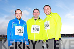 Sean O'Sullivan, Fergal Dooley and John Moriarty at the Valentines 10 mile road race in Tralee on Saturday.