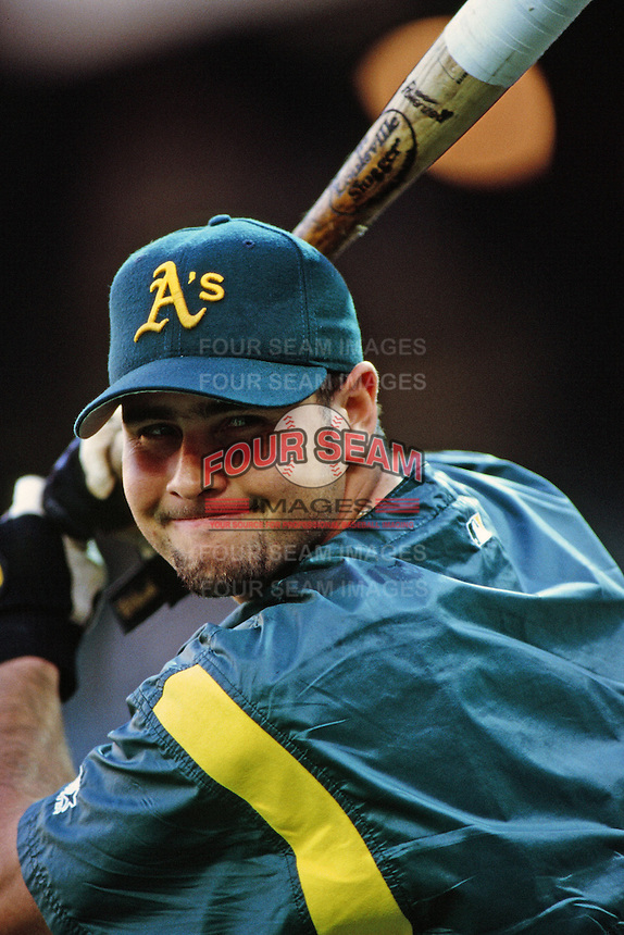 Ramon Hernandez of the Oakland Athletics during a game against the Anaheim Angels at Angel Stadium circa 1999 in Anaheim, California. (Larry Goren/Four Seam Images)