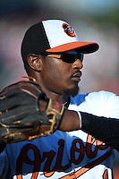 Baltimore Orioles outfielder Adam Jones (10) before a Spring Training game against the Atlanta Braves on April 3, 2015 at Ed Smith Stadium in Sarasota, Florida.  Baltimore defeated Atlanta 3-2.  (Mike Janes/Four Seam Images)