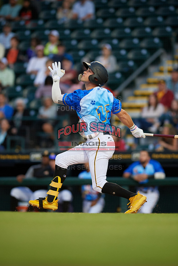 Bradenton Marauders Travis Swaggerty (12) bats during a Florida State League game against the Jupiter Hammerheads on April 20, 2019 at LECOM Park in Bradenton, Florida.  Bradenton defeated Jupiter 3-2.  (Mike Janes/Four Seam Images)