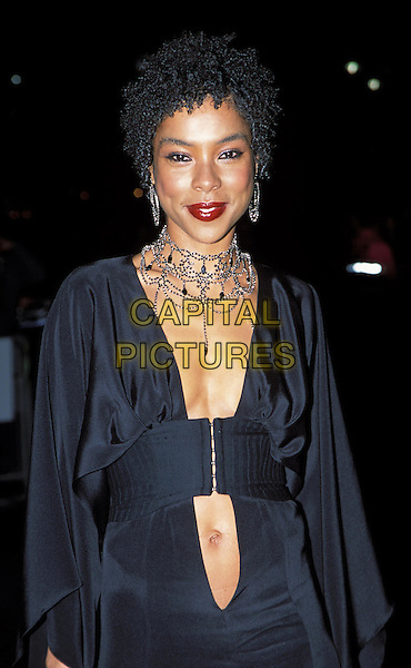 "SOPHIE OKONEDO.""Dirty Pretty Things""-Opening gala of the 46th Regus London Film Festival.sales@capitalpictures.com.www.capitalpictures.com.©Capital Pictures.chunky becklace, jewellery, plunging neckline"