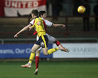 Fleetwood Town's Ashley Nadesan competes with Oxford United's Josh Ruffels<br /> <br /> Photographer Rich Linley/CameraSport<br /> <br /> The EFL Sky Bet League One - Fleetwood Town v Oxford United - Saturday 12th January 2019 - Highbury Stadium - Fleetwood<br /> <br /> World Copyright &copy; 2019 CameraSport. All rights reserved. 43 Linden Ave. Countesthorpe. Leicester. England. LE8 5PG - Tel: +44 (0) 116 277 4147 - admin@camerasport.com - www.camerasport.com