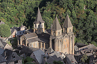 The Abbatiale Sainte-Foy de Conques or Abbey-church of Saint-Foy, Conques, Aveyron, Midi-Pyrenees, France, a Romanesque abbey church begun 1050 under abbot Odolric to house the remains of St Foy, a 4th century female martyr. The church is on the pilgrimage route to Santiago da Compostela, and is listed as a historic monument and a UNESCO World Heritage Site. Picture by Manuel Cohen