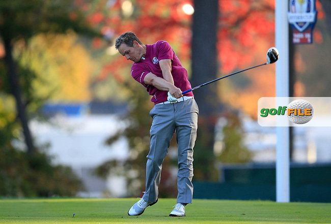 Europe's Luke Donald (ENG) tees off the 5th tee during Saturday's morning Foursomes Matches of the 39th Ryder Cup at Medinah Country Club, Chicago, Illinois 29th September 2012 (Photo Eoin Clarke/www.golffile.ie)