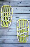SWEDEN, Swedish Lapland Vintage Yellow Snowshoes