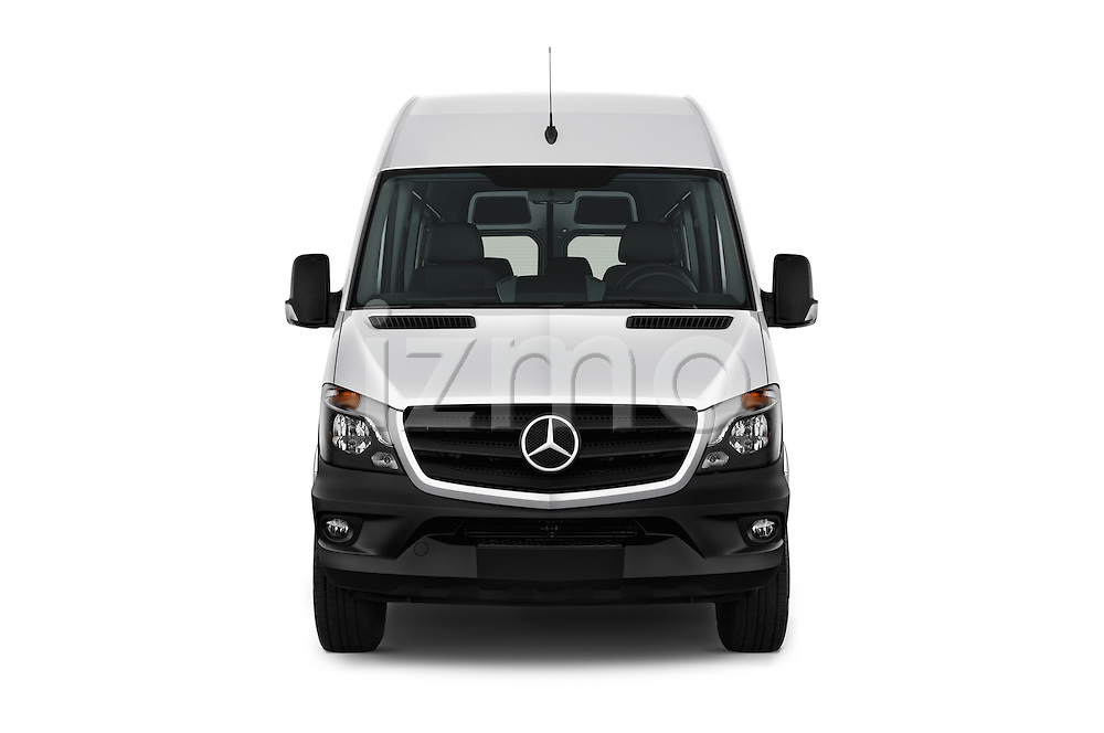 Car photography straight front view of a 2017 Mercedes Benz Sprinter-Crew-Van 2500-170-WB-High-Roof 4 Door Combi Front View