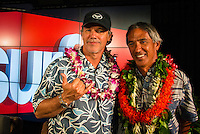 North Shore, Oahu, Hawaii (Wednesday, December 11, 2013,) Wyland and Thompson who will be sailing together on the Hokule'a. <br /> Nainoa Thompson &ndash; native Hawaiian navigator of Hawai&lsquo;i&rsquo;s traditional double-hull sailing canoe Hokule&lsquo;a, and President of the Polynesian Voyaging Society &ndash; is a living conduit of Hawaiian culture and traditional wayfinding skills. He spoke for over an hour before being joined on the stage by members of the crew for the three year around the world voyage. They were interviewed by host Jodi Wilmott (AUS) . Photo: joliphotos.com