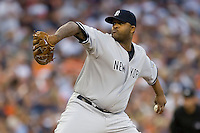Starting pitcher CC Sabathia #52 of the New York Yankees in action versus the Detroit Tigers at Comerica Park April 27, 2009 in Detroit, Michigan.  Photo by Brian Westerholt / Four Seam Images