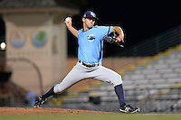 Charlotte Stone Crabs pitcher Jeff Ames (34) delivers a pitch during a game against the Bradenton Marauders on April 22, 2015 at McKechnie Field in Bradenton, Florida.  Bradenton defeated Charlotte 7-6.  (Mike Janes/Four Seam Images)