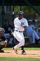 GCL Tigers shortstop Adrian Alfaro (49) at bat during the first game of a doubleheader against the GCL Yankees 1 on August 5, 2015 at Tigertown in Lakeland, Florida.  GCL Tigers derated the GCL Yankees 5-2.  (Mike Janes/Four Seam Images)